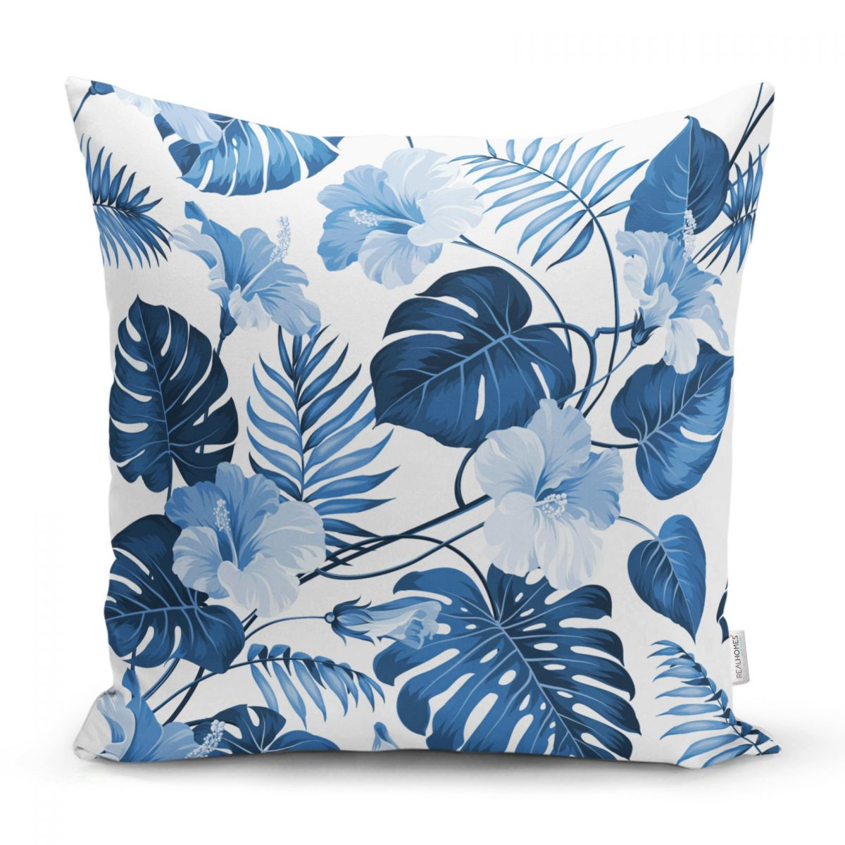 Mavi Amazon Yaprakları Özel Tasarımlı Dekoratif Yastık Kırlent Kılıfı Realhomes
