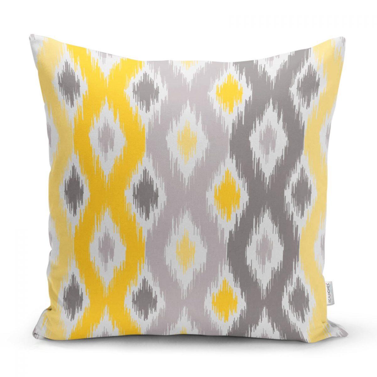 Sarı Gri Zigzag Desenli Modern Tasarımlı Dekoratif Yastık Kırlent Kılıfı Realhomes