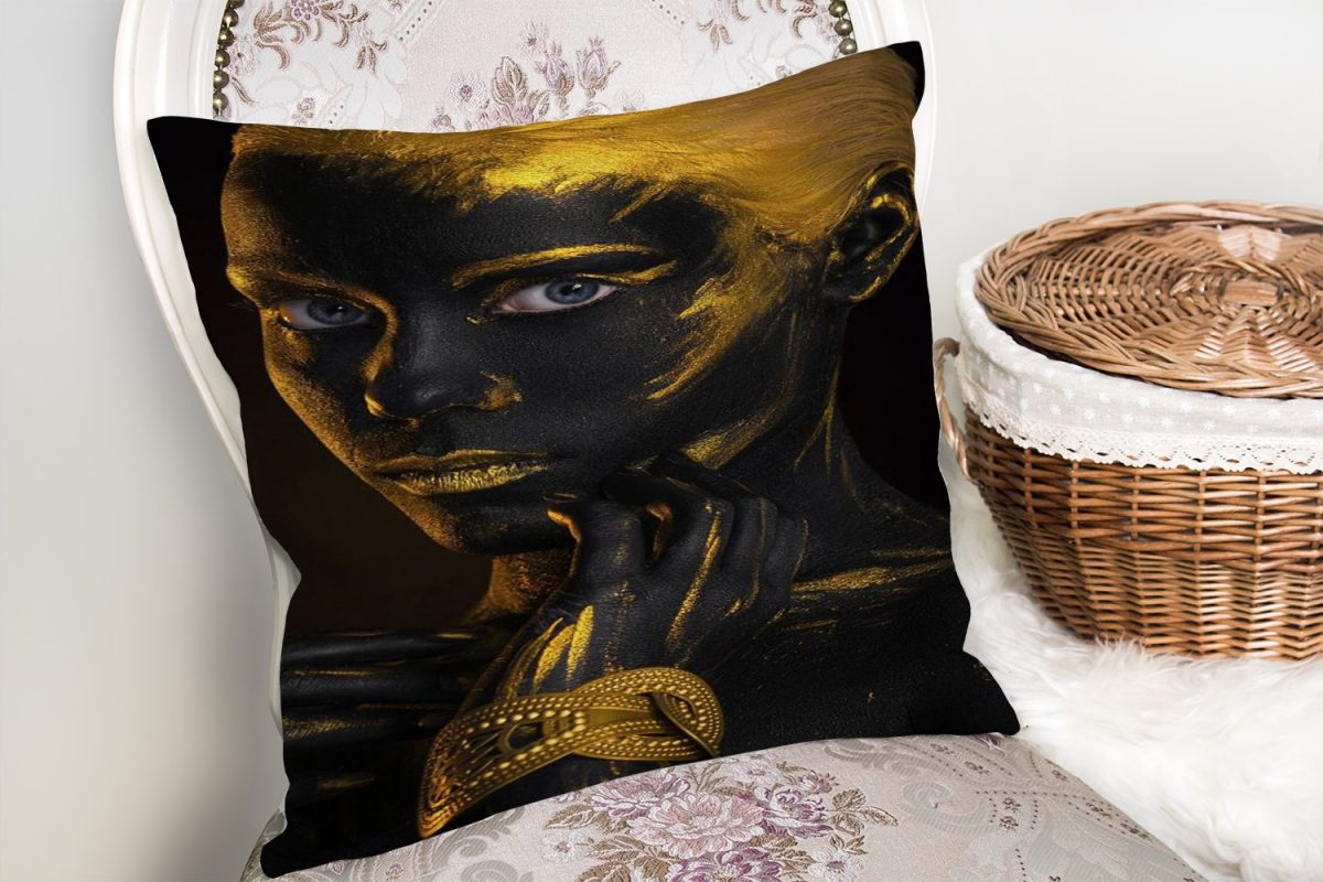 Afrika Gold İnsan Figürlü Modern Dekoratif Yastık Kırlent Kılıfı Realhomes
