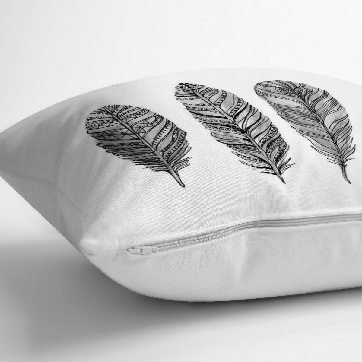 Karakalem Tüy Desenli Dijital Baskılı Modern Yastık Kırlent Kılıfı Realhomes