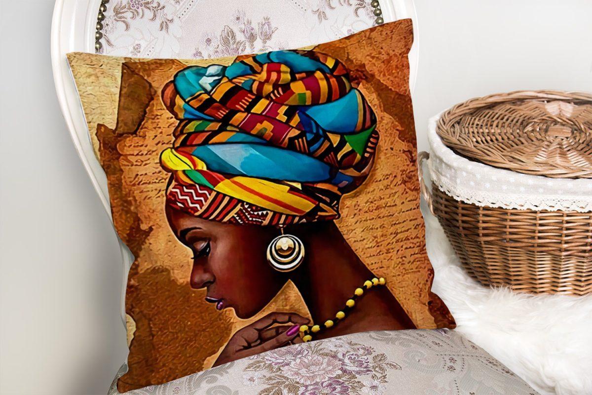 African Woman Çizimli Dijital Baskılı Modern Yastık Kırlent Kılıfı Realhomes