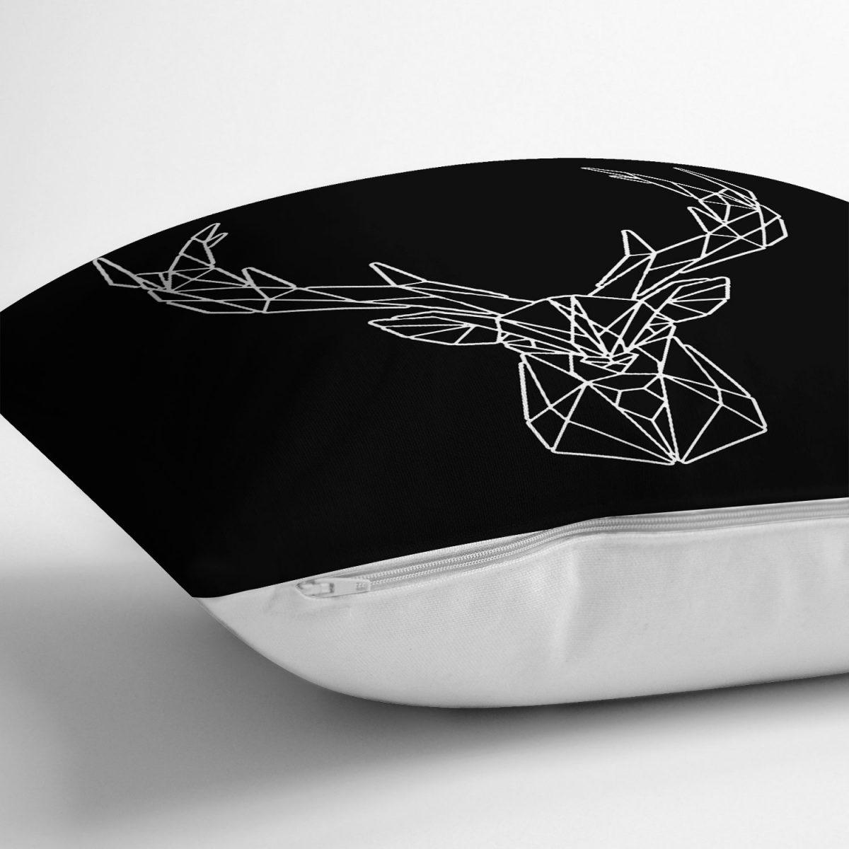 Siyah Zeminli Geometrik Geyik Çizimli Modern Yastık Kırlent Kılıfı Realhomes