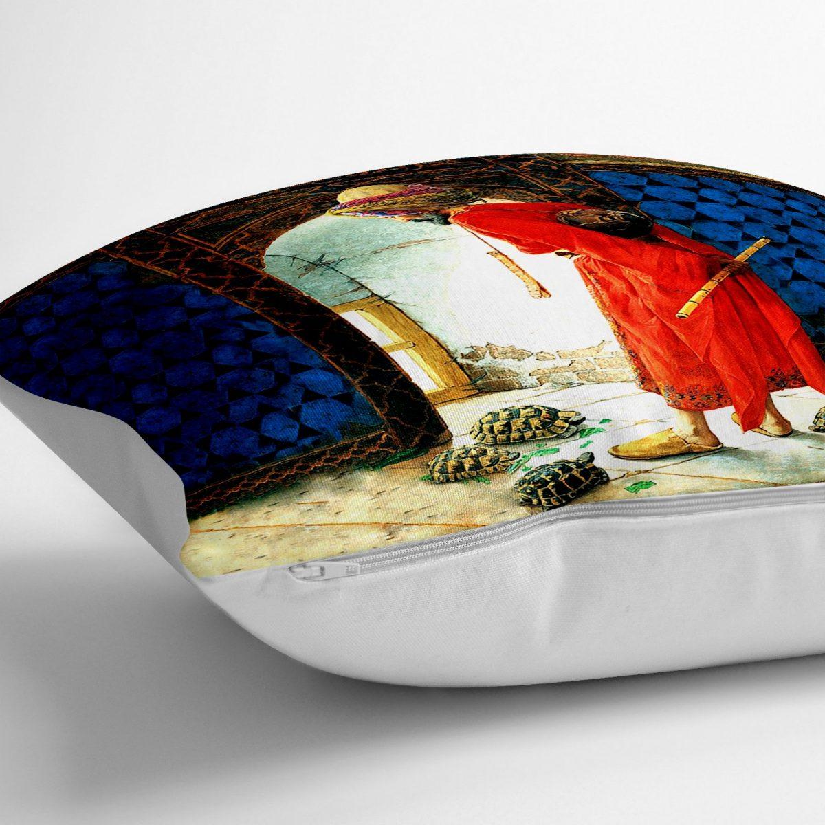Kaplumbağa Terbiyecisi Dijital Baskılı Dekoratif Yer Minderi - 70 x 70 cm Realhomes