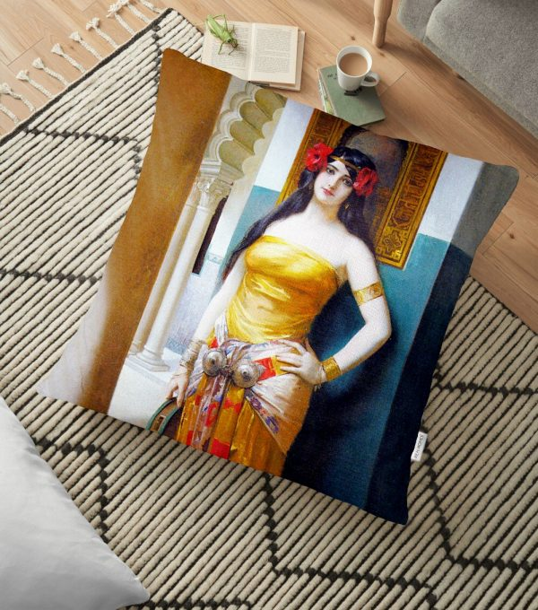 Siyah Love Baskılı Dijital Baskılı Dekoratif Yer Minderi - 70 x 70 cm Realhomes