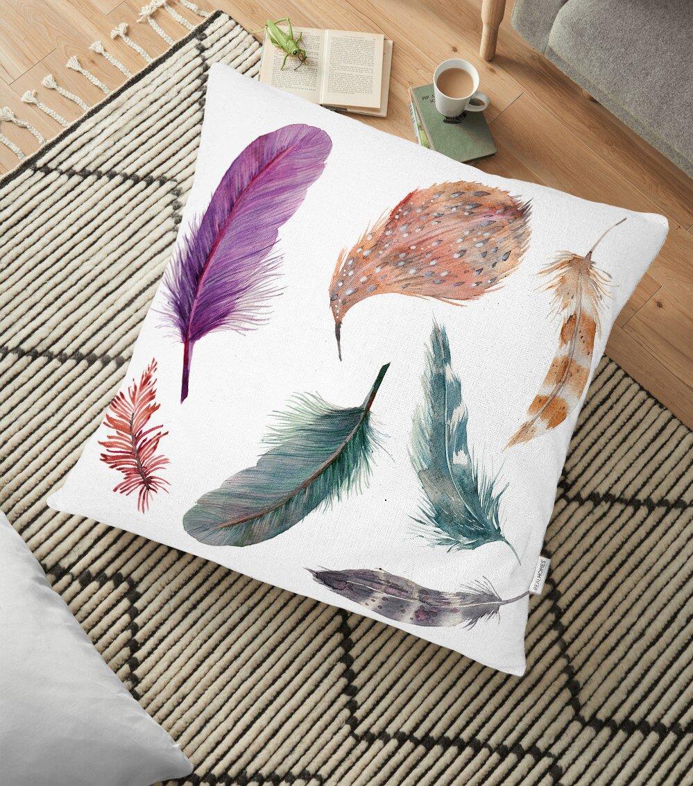 Kuş Tüyü Resimli Dijital Baskılı Dekoratif Yer Minderi - 70 x 70 cm Realhomes