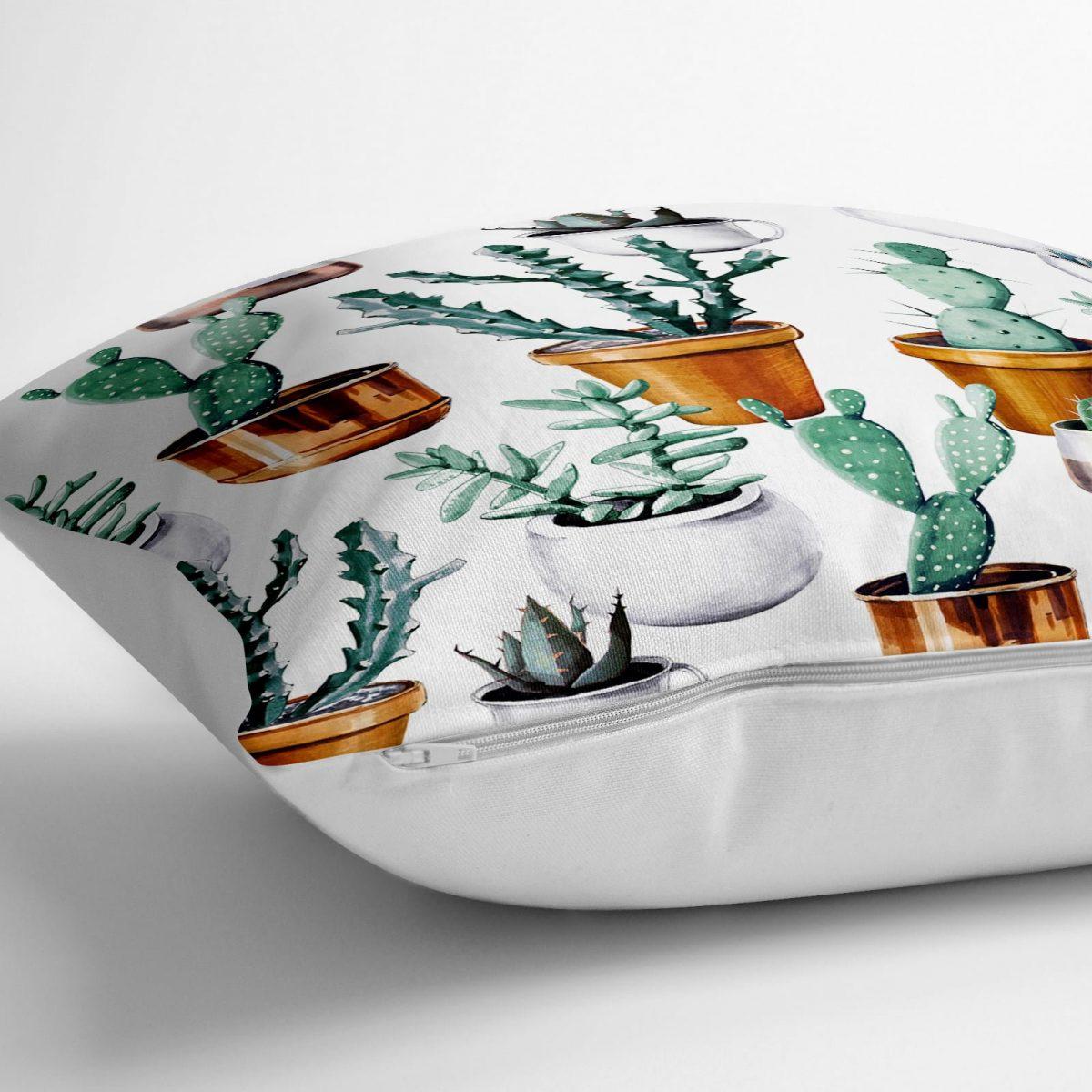 Kaktüs Baskılı Dekoratif Dijital Baskılı Yer Minderi - 70 x 70 cm Realhomes