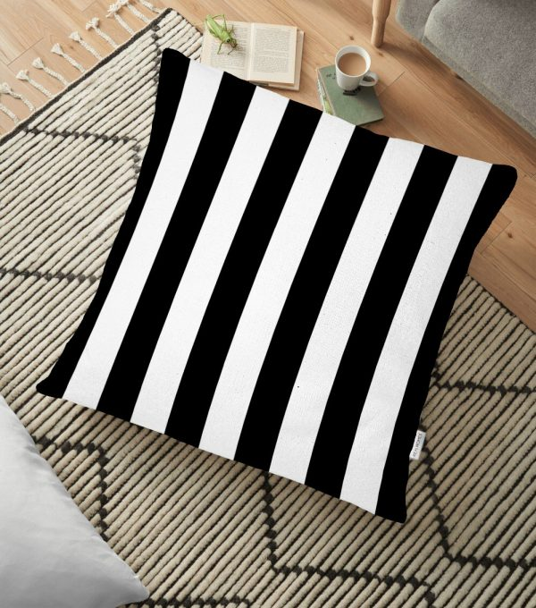 Siyah Beyaz Çizgili Dekoratif Yer Minderi - 70 x 70 cm Realhomes