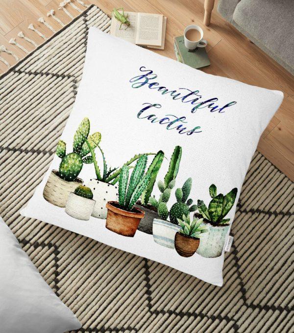Beatiful Cactus Baskılı Dijital Yer Minderi - 70 x 70 cm Realhomes