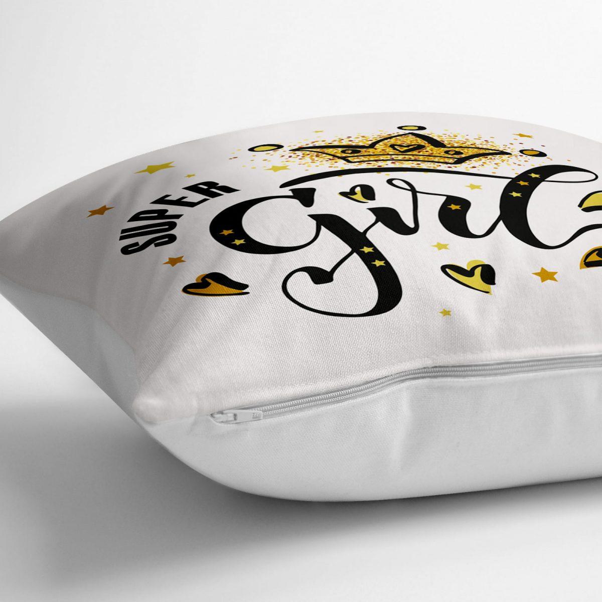 Super Gırl Yazı Desenli Dijital Baskılı Dekoratif Yer Minderi - 70 x 70 cm Realhomes