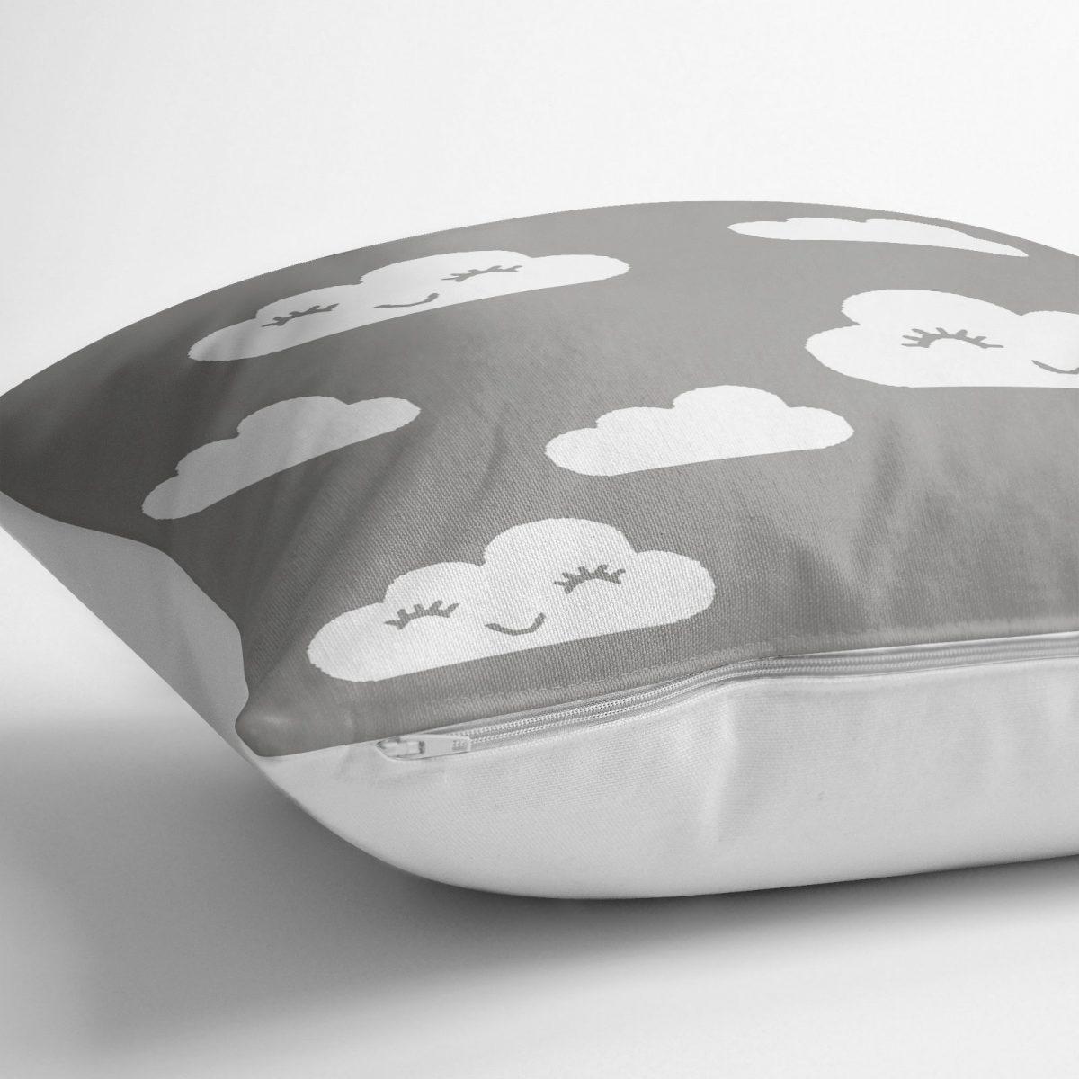 Gri Zeminli Bulut Motifli Dijital Baskılı Dekoratif Yer Minderi - 70 x 70 cm Realhomes