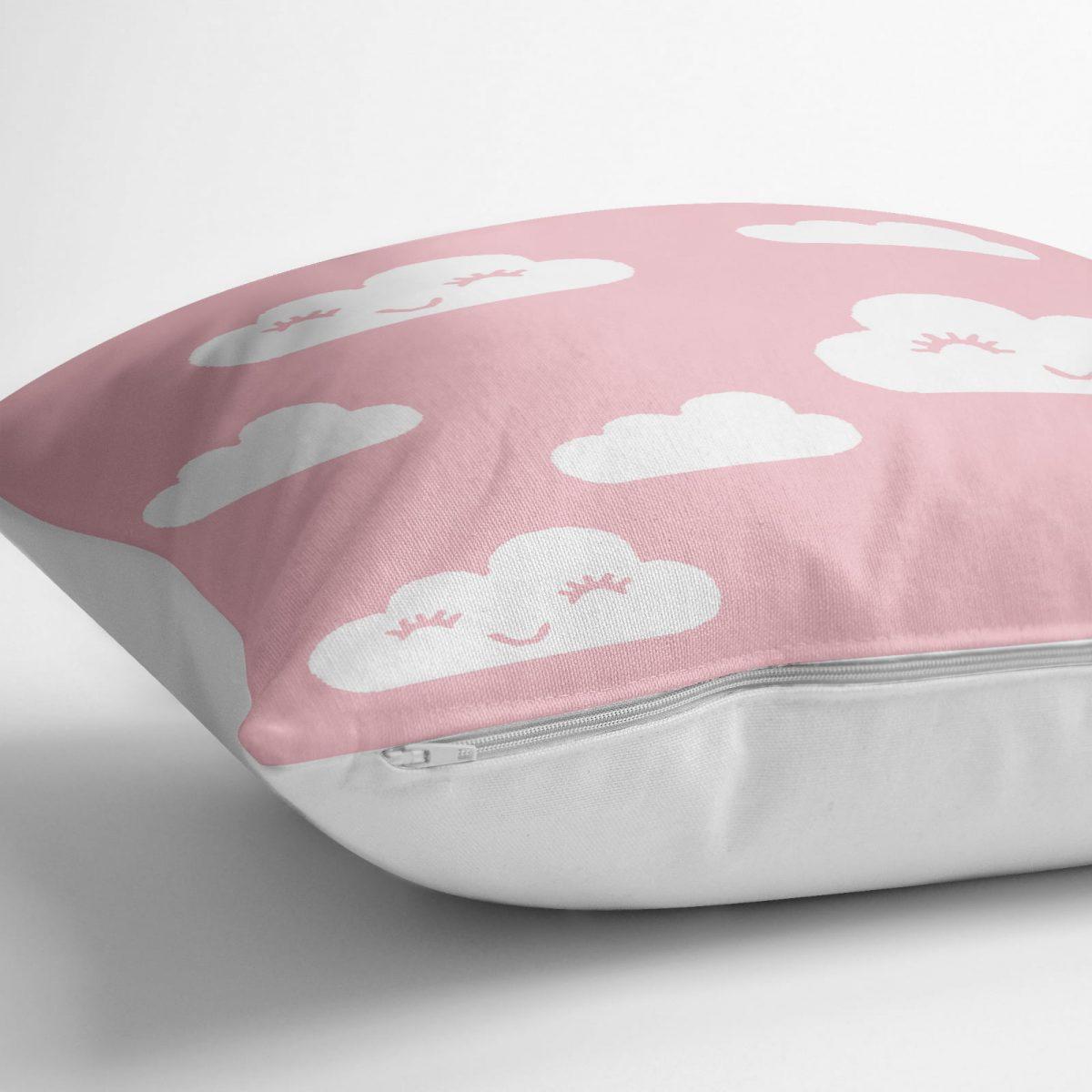 Pembe Zeminli Bulut Desenli Dijital Baskılı Yer Minderi - 70 x 70 cm Realhomes