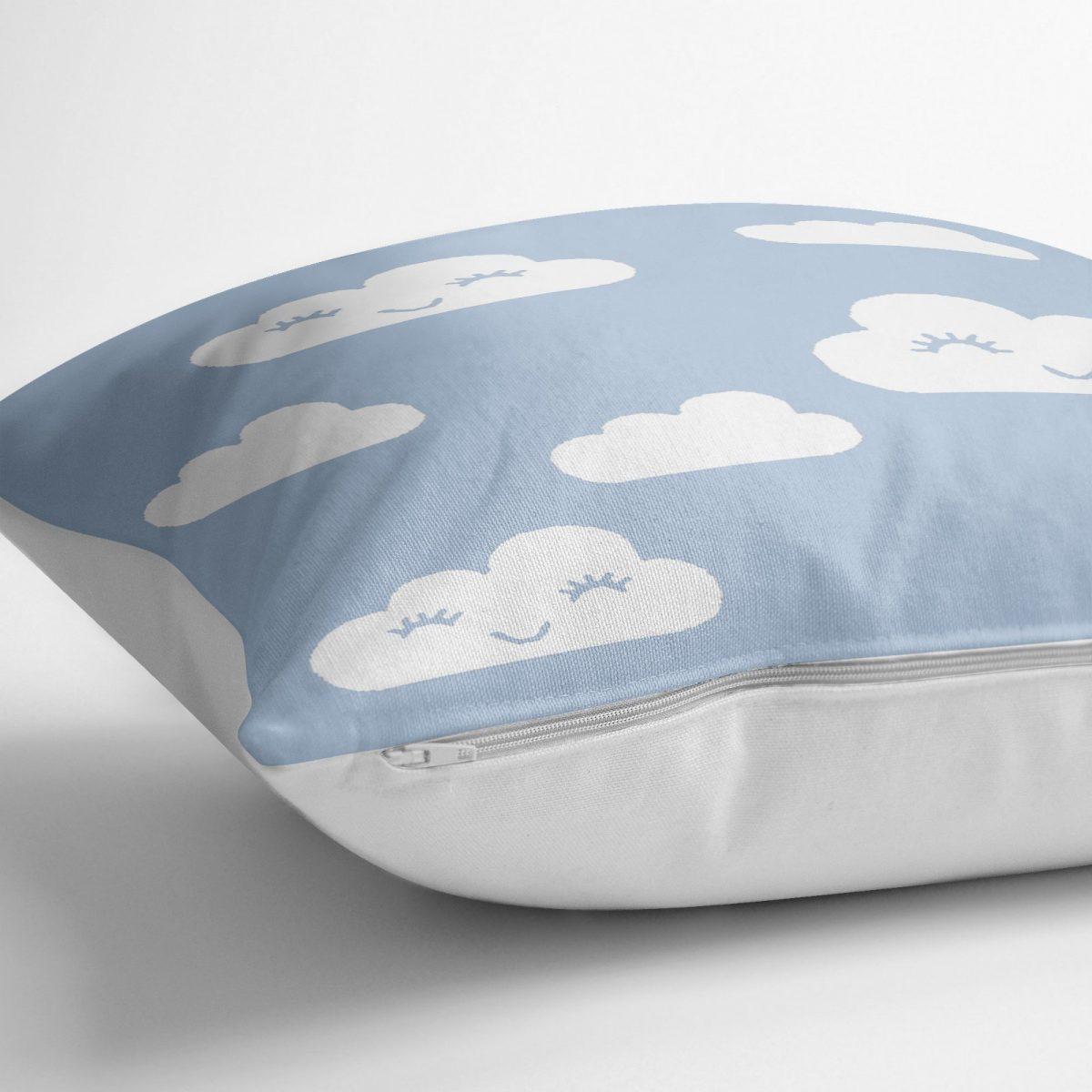 Mavi Zeminli Bulut Temalı Dijital Baskılı Modern Yer Minderi - 70 x 70 cm Realhomes