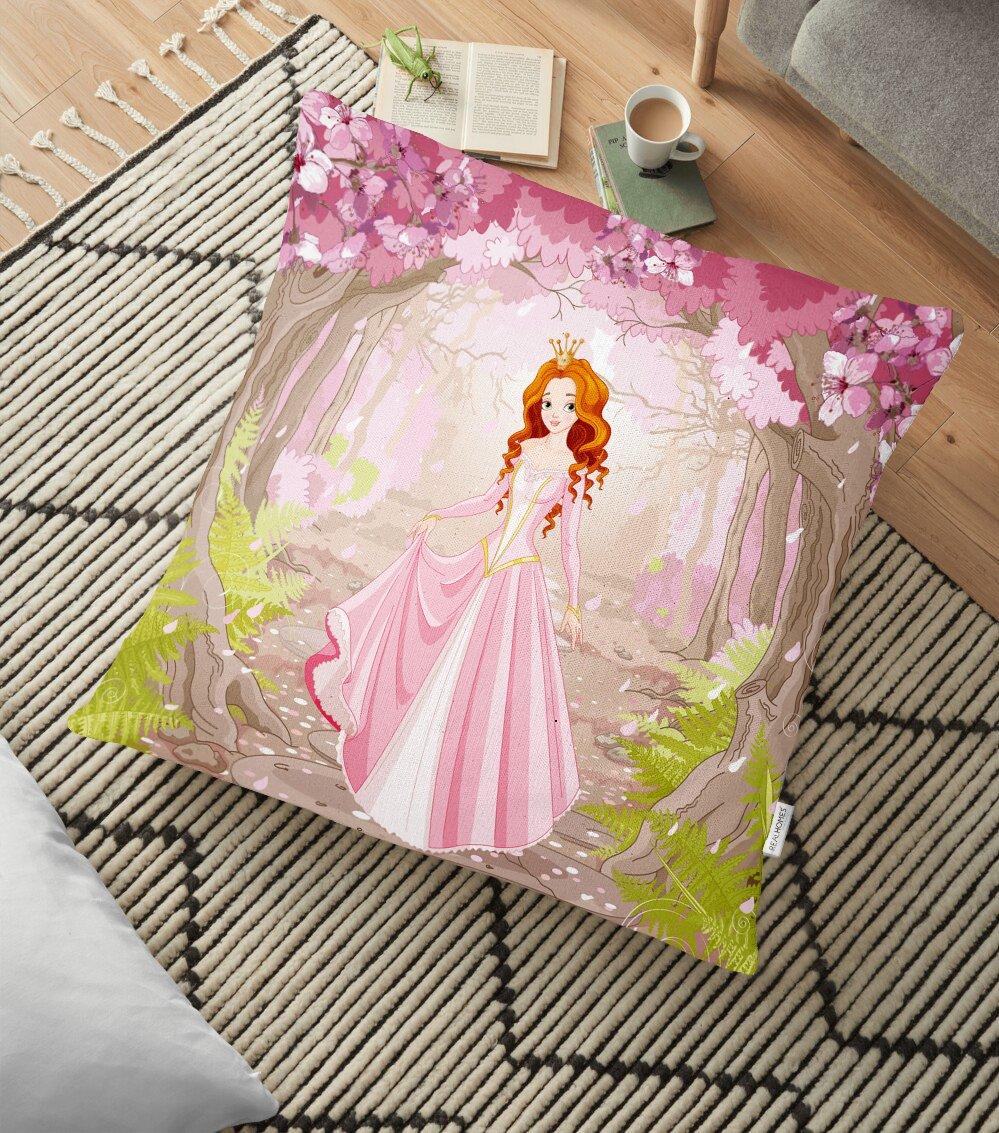 Prenses Gırl Deenli Dijital Baskılı Dekoratif Yer Minderi - 70 x 70 cm Realhomes