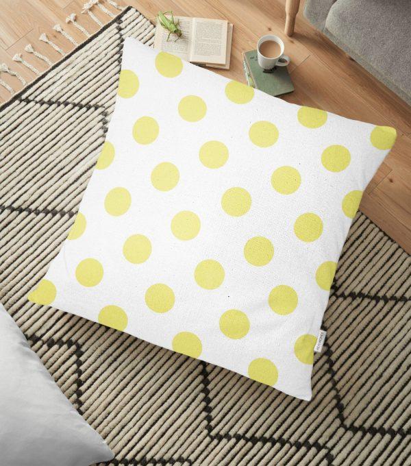 Sarı Puantiyeli Dijital Baskılı Dekoratif Yer Minderi - 70 x 70 cm Realhomes