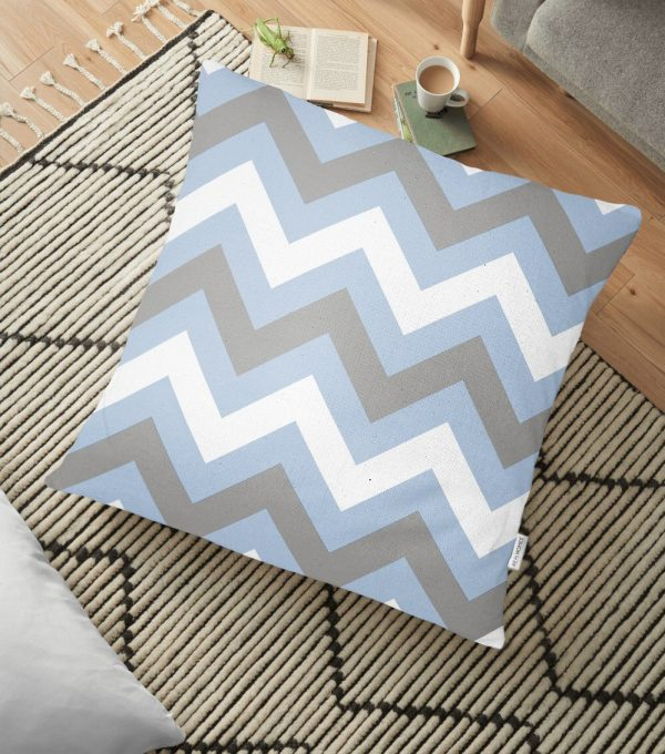 Mavi Gri Zigzag Desenli Dijital Baskılı Dekoratif Yer Minderi - 70 x 70 cm Realhomes