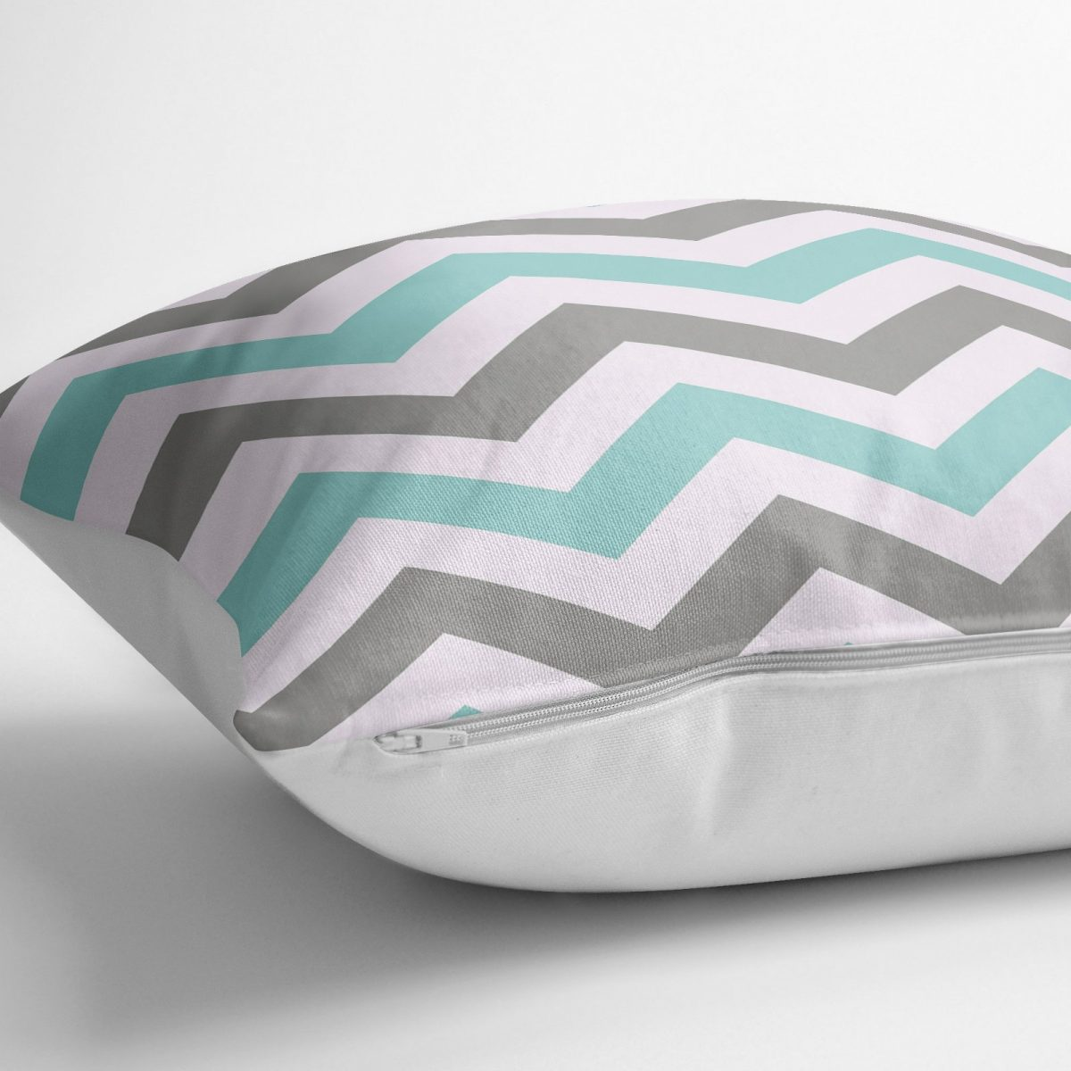 Turkuaz Gri Zigzag Desenli Dijital Baskılı Modern Yer Minderi - 70 x 70 cm Realhomes
