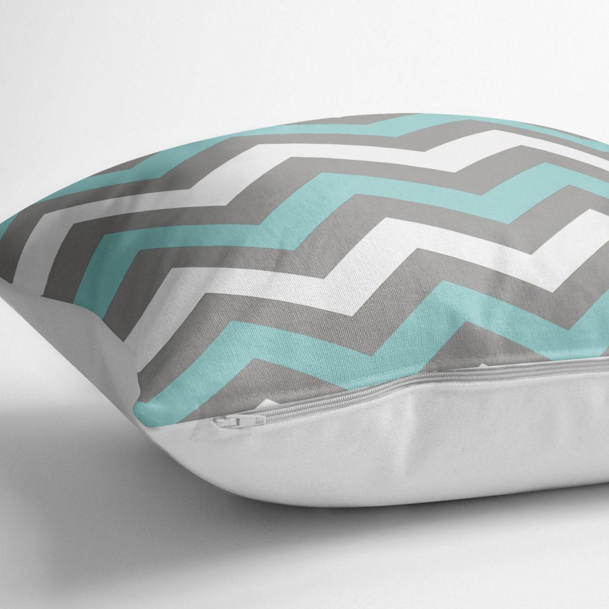 Gri Turkuaz Zigzag Desenli Dijital Baskılı Dekoratif Yer Minderi - 70 x 70 cm Realhomes