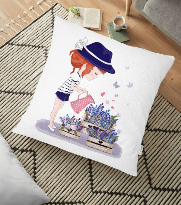 Kız Temalı Dijital Baskılı Dekoratif Yer Minderi - 70 x 70 cm Realhomes