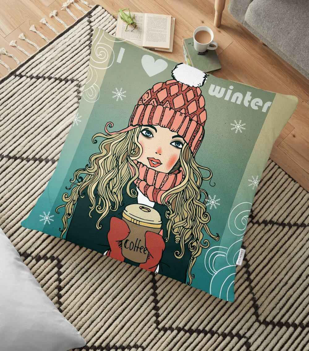 Kış Temalı Pop Art Desenli Dijital Baskılı Modern Yer Minderi - 70 x 70 cm Realhomes