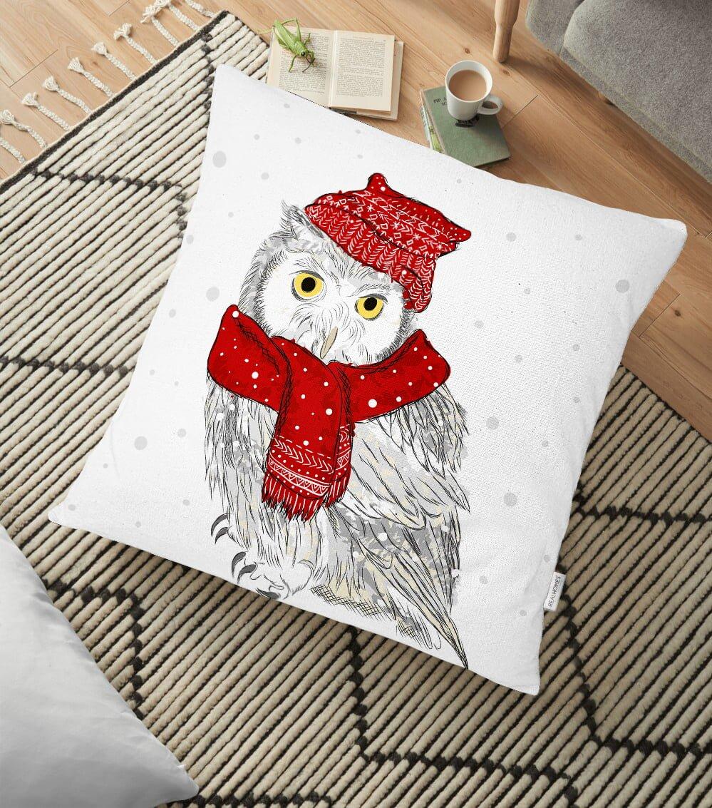 Kış Motifli Baykuş Temalı Dijital Baskılı Dekoratif Yer Minderi - 70 x 70 cm Realhomes