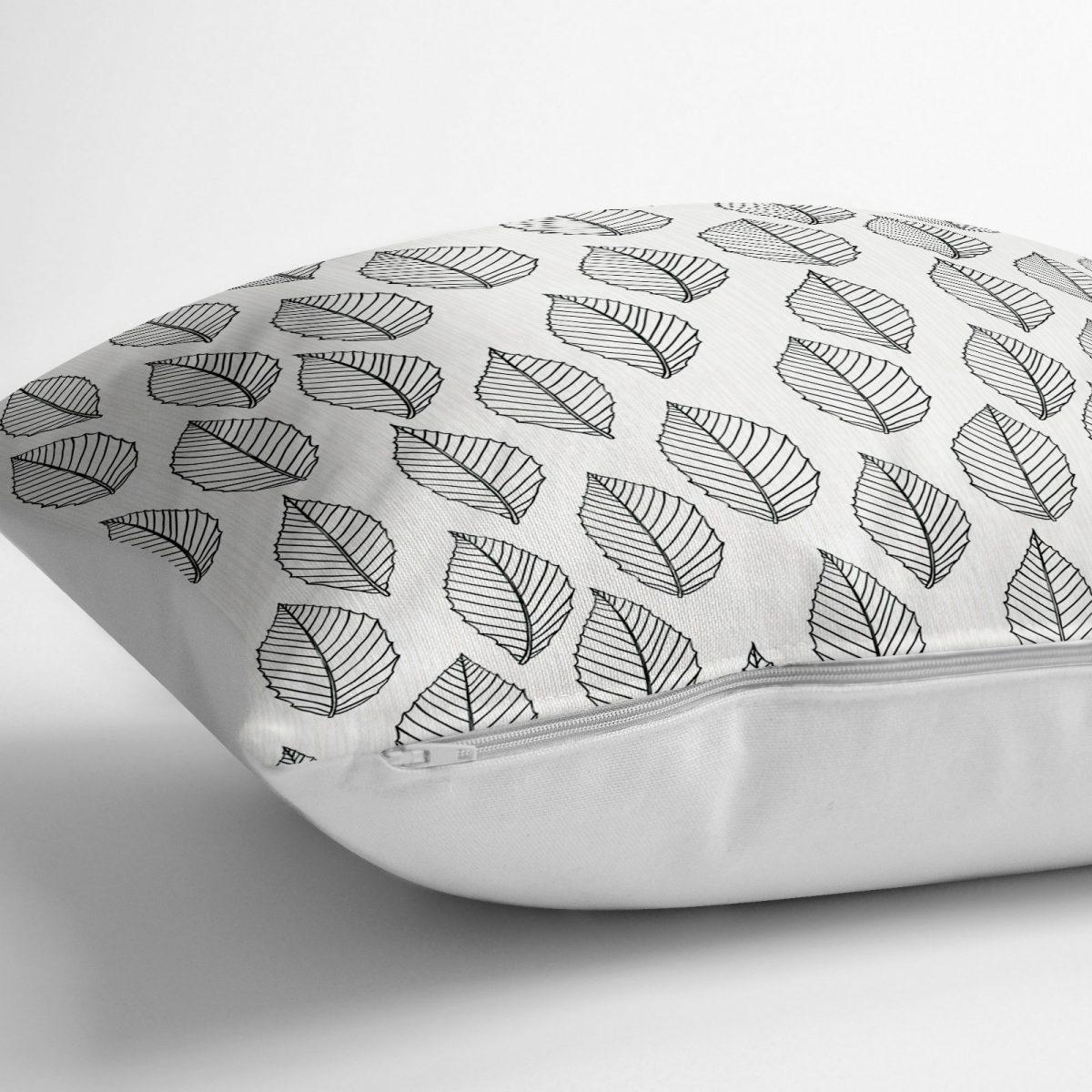 Özel Tasarım Yaprak Desenli Dijital Baskılı Yer Minderi - 70 x 70 cm Realhomes