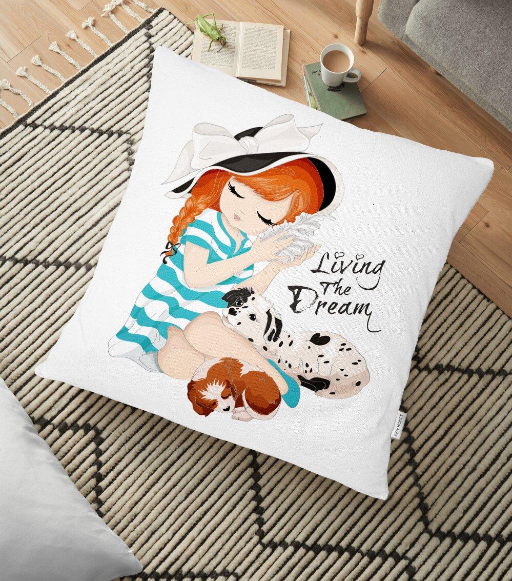 Living The Dream Yazılı Modern Yer Minderi - 70 x 70 cm Realhomes