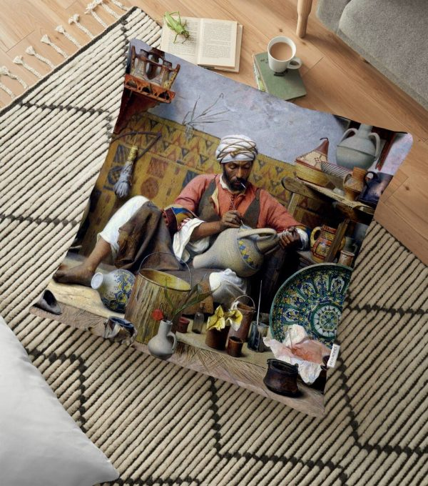 Osmanlı Desen Dijital Baskılı Dekoratif Yer Minderi - 70 x 70 cm Realhomes