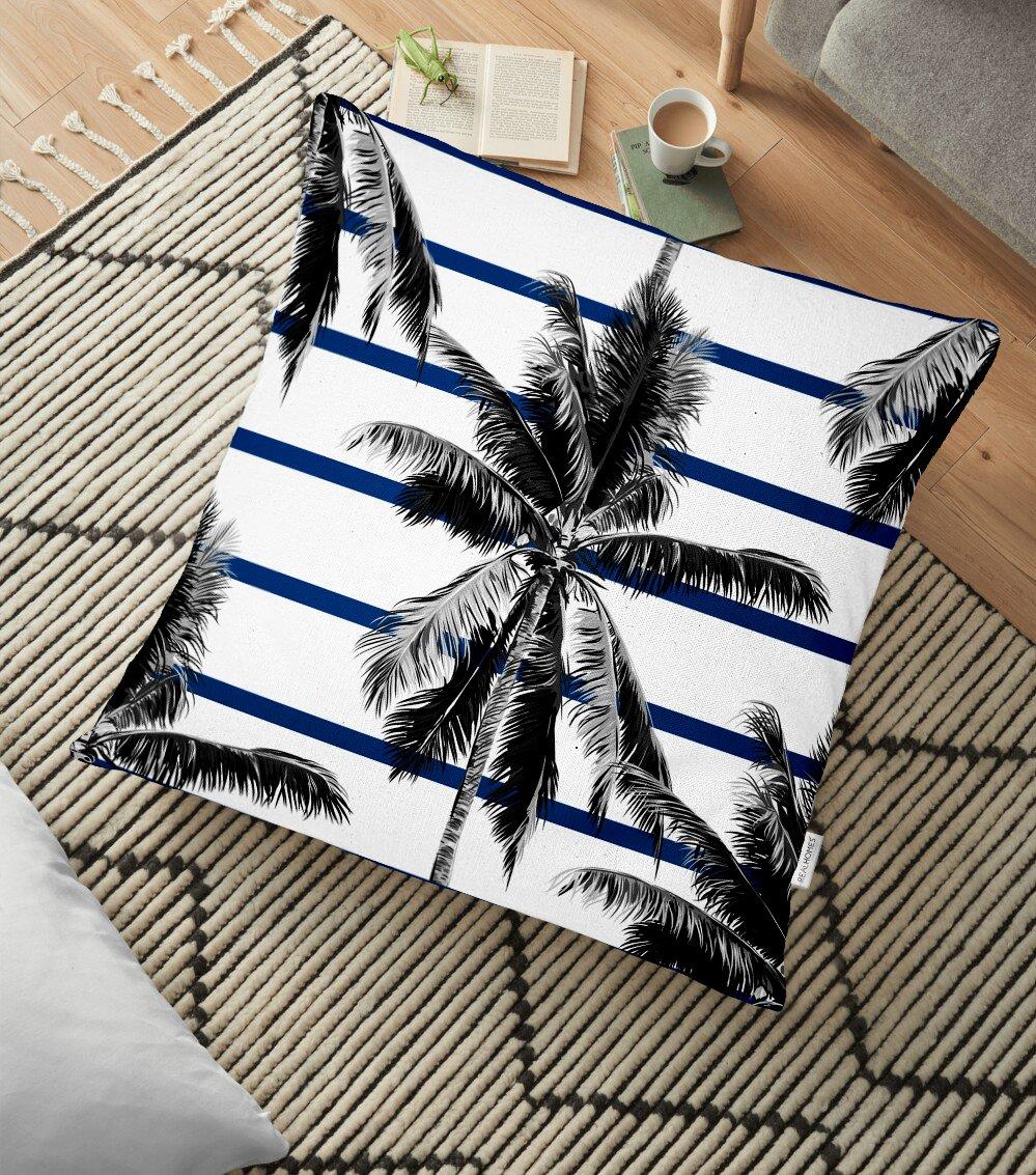Çizgili Palmiye Yaprakları Dekoratif Yer Minderi - 70 x 70 cm Realhomes