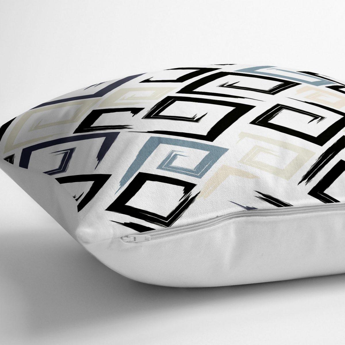 Gri Siyah Labirent Çizimli Modern Dijital Baskılı Yer Minderi - 70 x 70 cm Realhomes