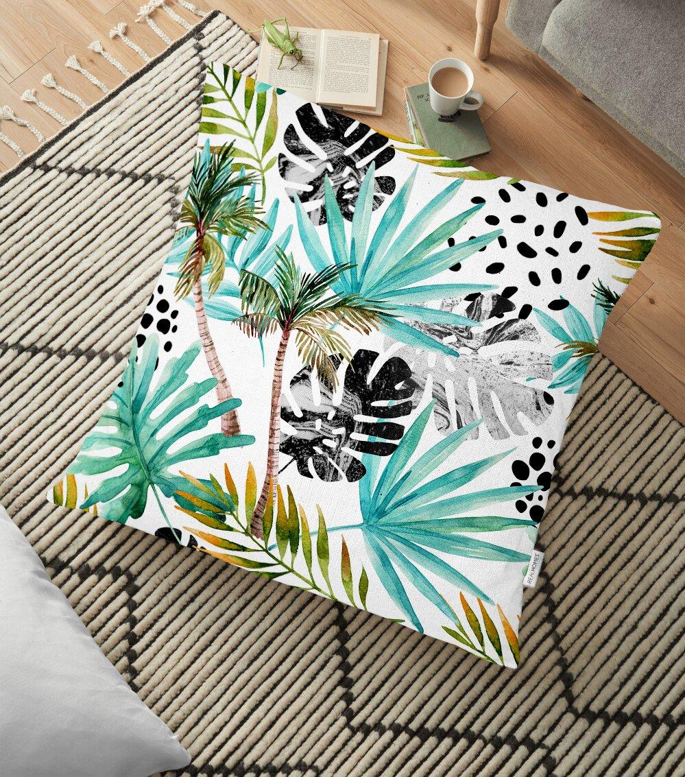 Siyah Puanlı Mavi Palmiye Modern Dijital Baskılı Dekoratif Yer Minderi - 70 x 70 cm Realhomes