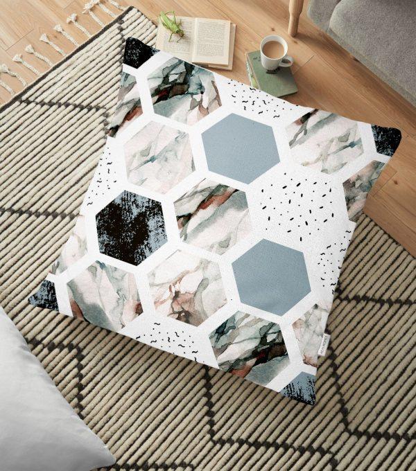 Hava Durumu Temalı Bal Peteği Motifli Dijital Baskılı Yer Minderi - 70 x 70 cm Realhomes