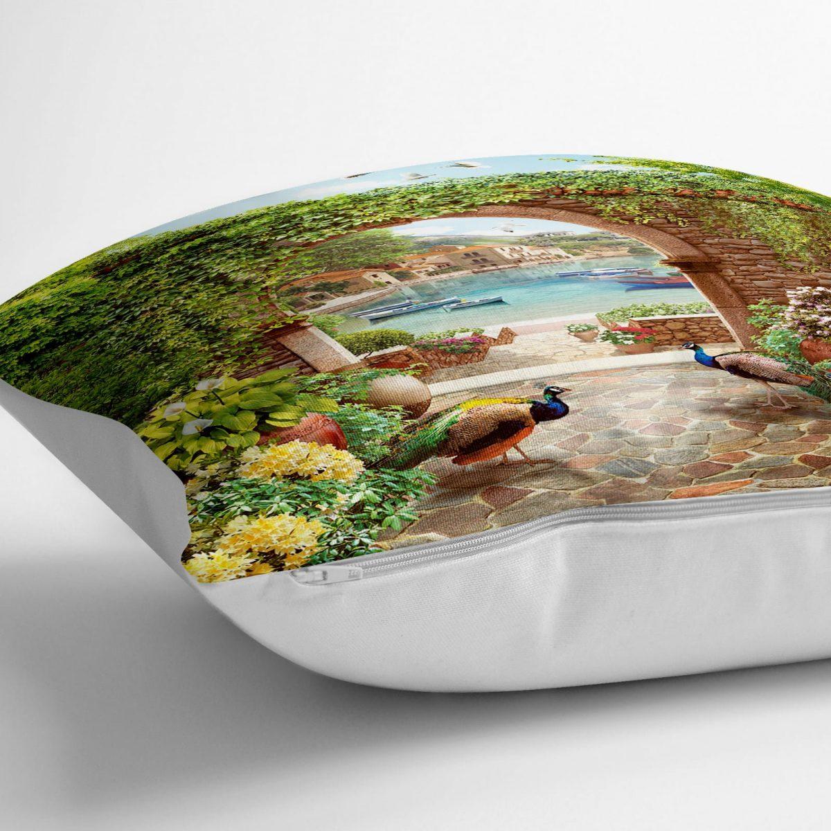 Tavuz Kuşu Dijital Baskılı Dekoratif Yer Minderi - 70 x 70 cm Realhomes