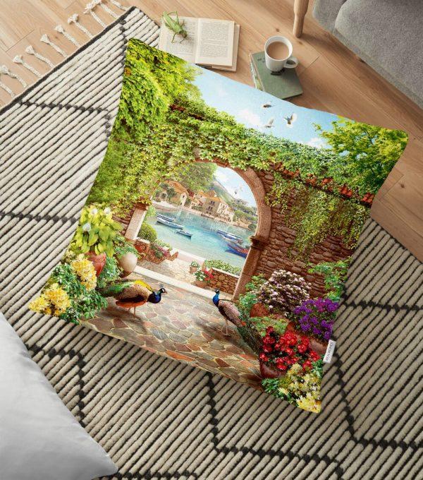 Mor Zeminli Kedicikler Desenli Dekoratif Kedi & Hayvan Minderi - 70 x 70 cm Realhomes