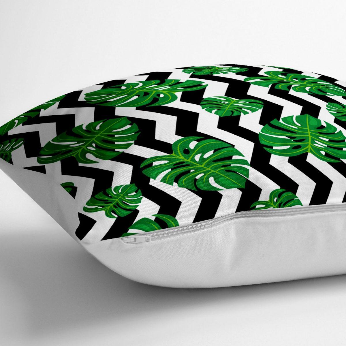 Zigzag Zebra Temalı Yaprak Çizimli Dijital Baskılı Yer Minderi - 70 x 70 cm Realhomes