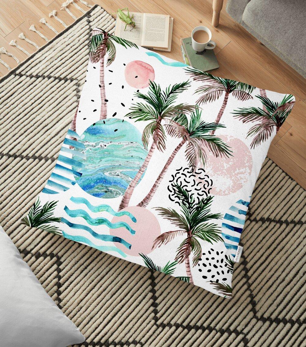 Palmiye Desenli Gezegen Baskılı Dijital Baskılı Yer Minderi - 70 x 70 cm Realhomes