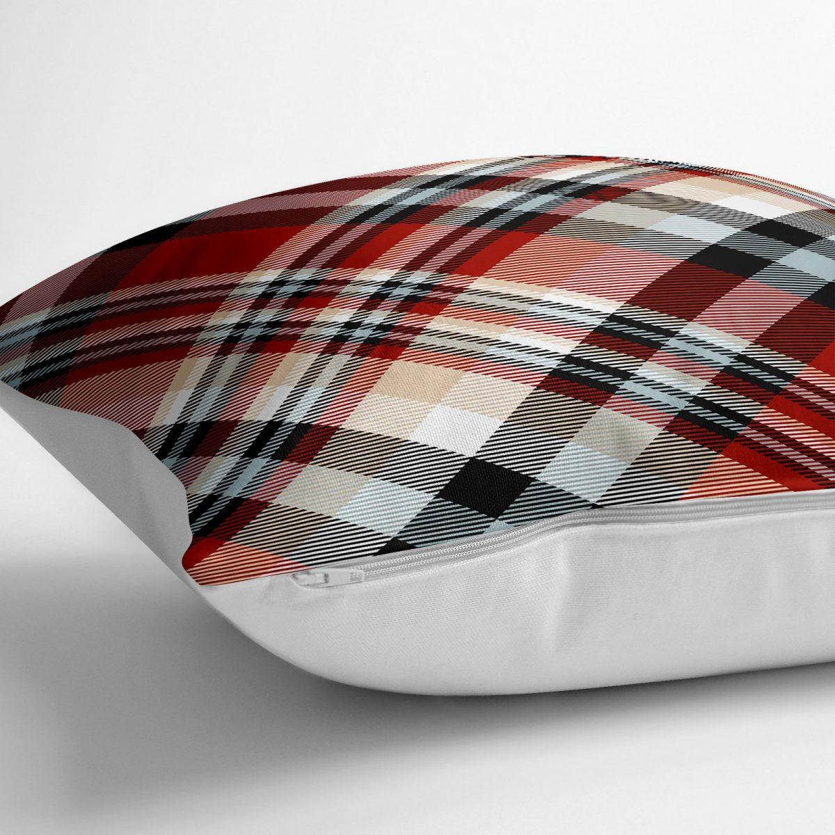 Kırmızı Siyah Beyaz Ekose Desenli Dekoratif Yer Minderi - 70 x 70 cm Realhomes