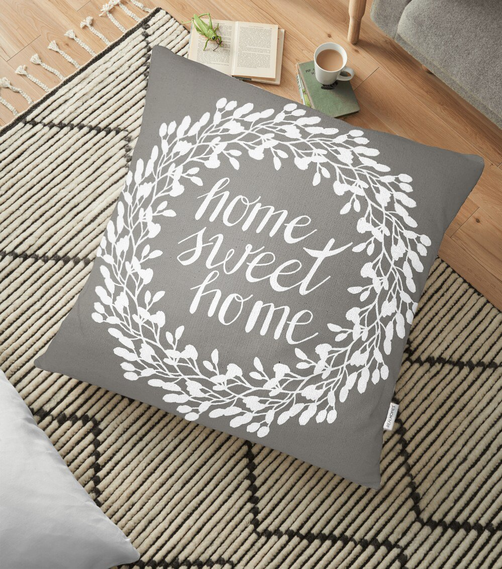 Home Sweet Home Dijital Baskılı Dekoratif Yer Minderi - 70 x 70 cm Realhomes