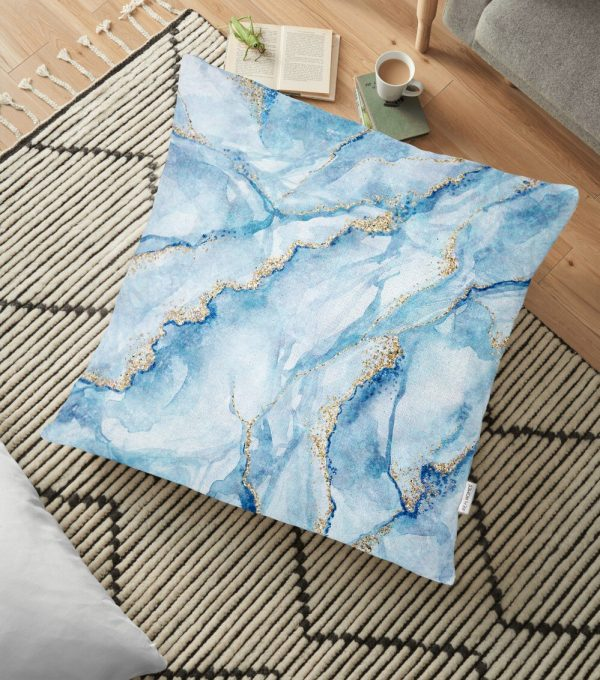 Mavi Renkli Mermer Desenli Dijital Baskılı Yer Minderi - 70 x 70 cm Realhomes