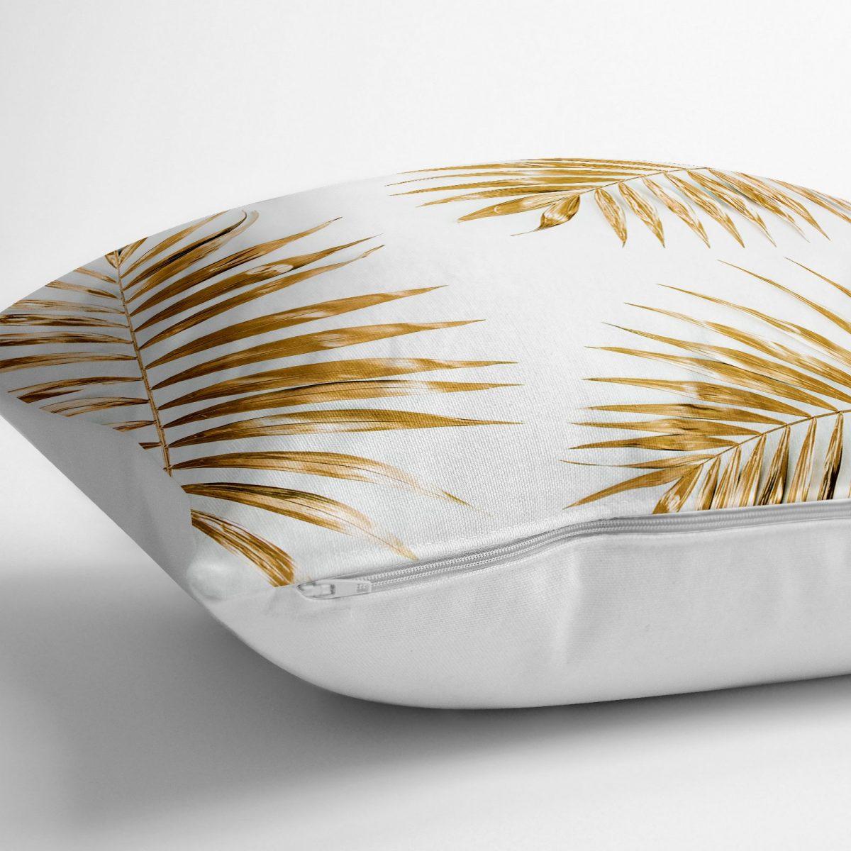 Altın Renkli Palmiye Yaprakları Dijital Baskılı Yer Minderi - 70 x 70 cm Realhomes