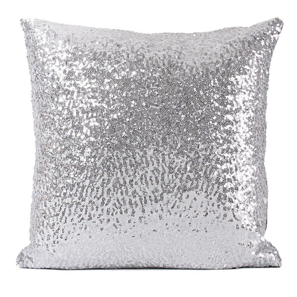 RealHomes Silver Gümüş Pullu Payetli Yastık Kırlent Kılıfı Realhomes