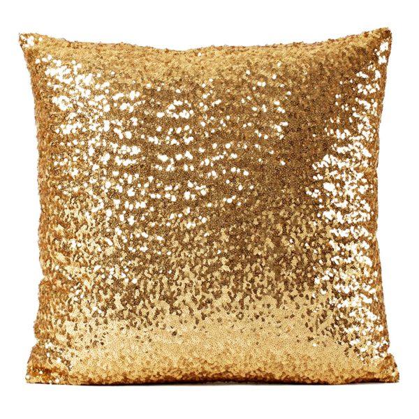 RealHomes Gold Altın Pullu Payetli Yastık Kırlent Kılıfı Realhomes