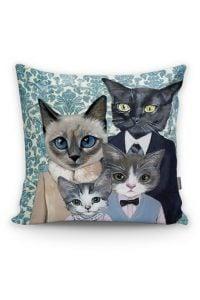 Kedi Ailesi Desenli Yastık Kırlent Kılıfı Realhomes