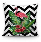 Zigzag Flamingo Desenli Modern Yastık Kırlent Kılıfı