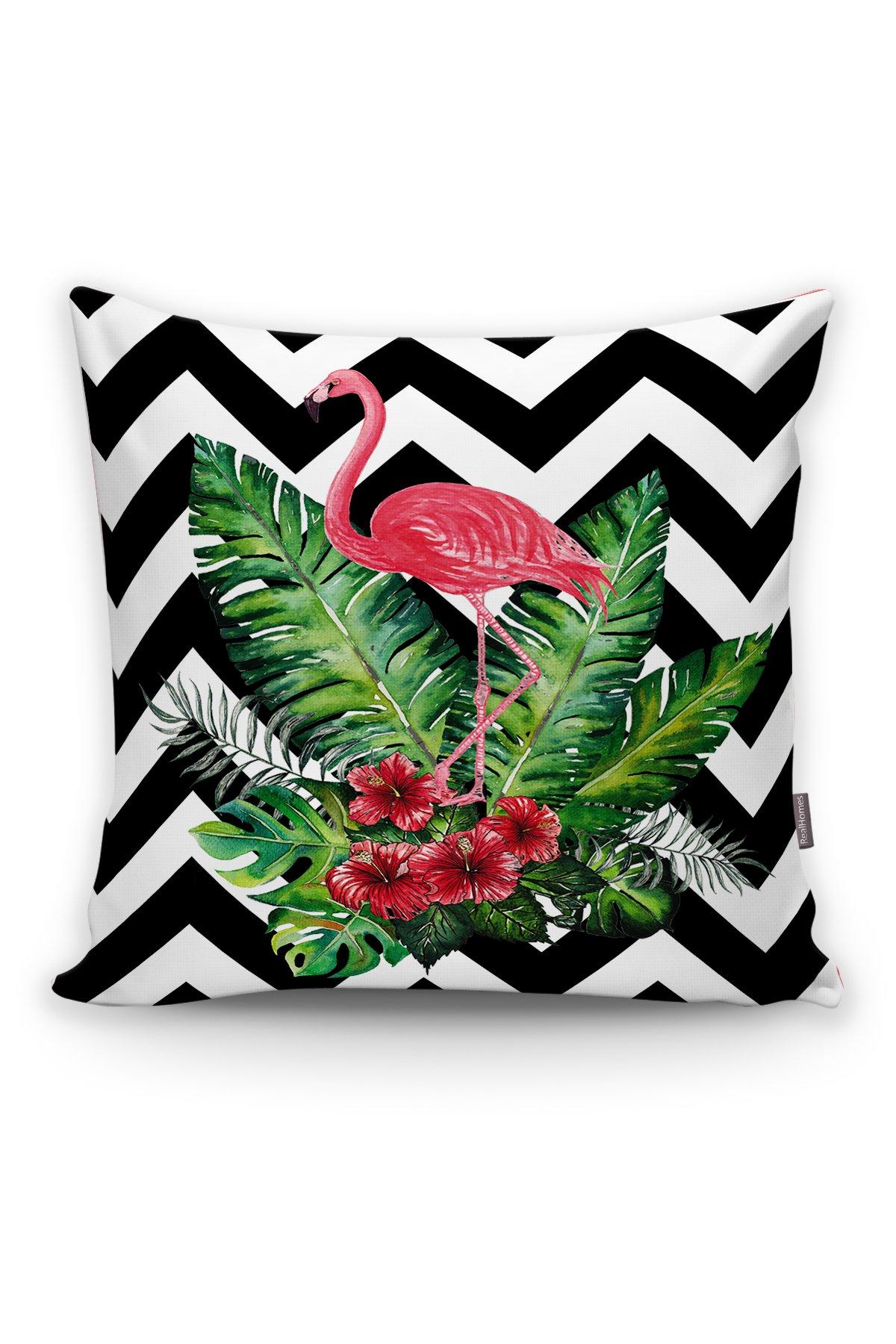 Zigzag Flamingo Desenli Modern Yastık Kırlent Kılıfı Realhomes