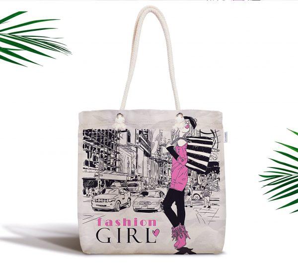 Fashion Girl Özel Tasarımlı Dijital Baskılı Fermuarlı Kumaş Çanta Realhomes