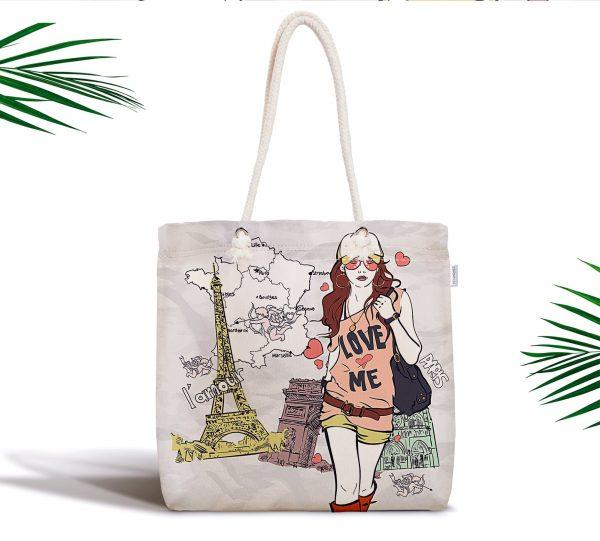 Fashion Girl Paris Tasarımlı Dijital Baskılı Fermuarlı Kumaş Çanta Realhomes