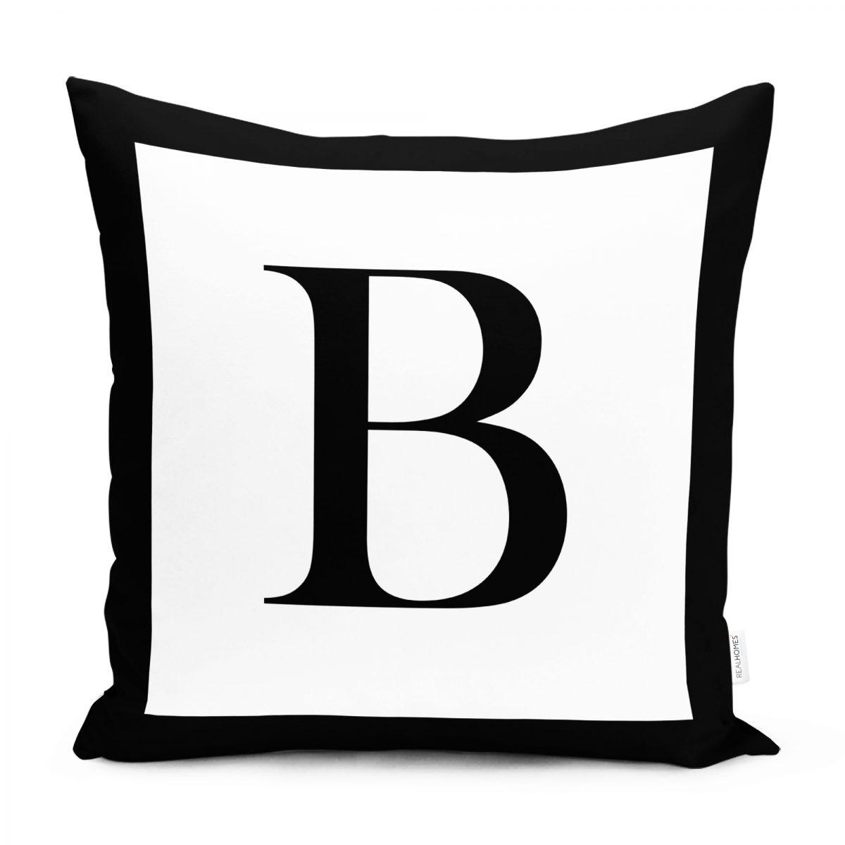 RealHomes Siyah Beyaz B Harfli Yastık Kırlent Kılıfı Realhomes