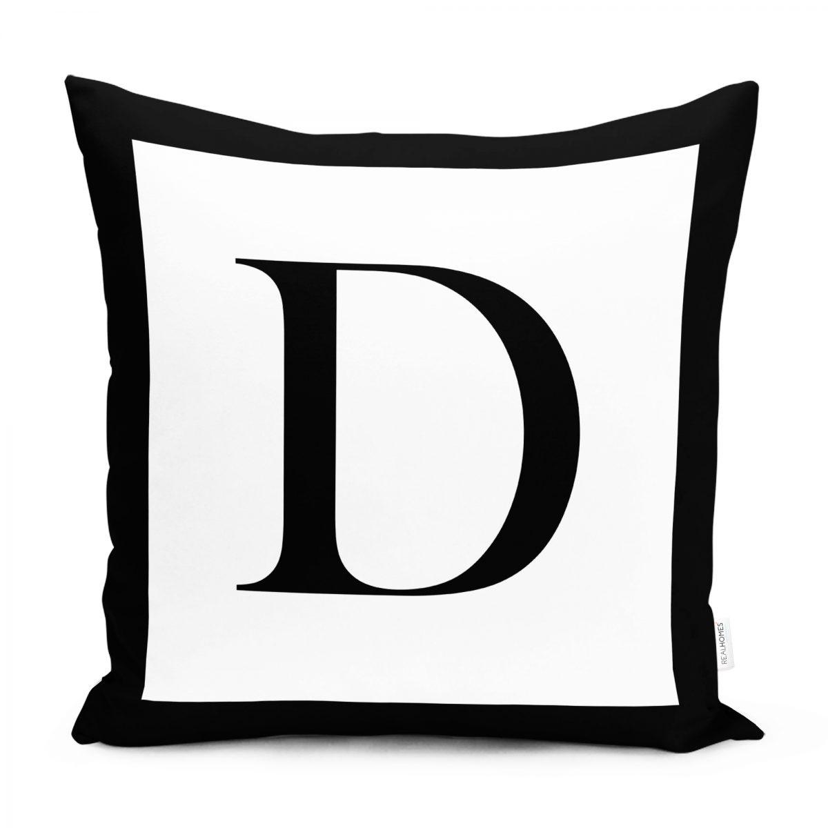 RealHomes Siyah Beyaz D Harfli Yastık Kırlent Kılıfı Realhomes