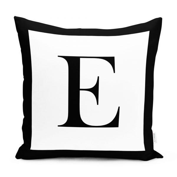 RealHomes Siyah Beyaz E Harfli Yastık Kırlent Kılıfı Realhomes