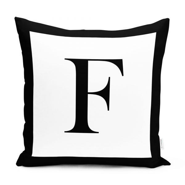 RealHomes Siyah Beyaz F Harfli Yastık Kırlent Kılıfı Realhomes